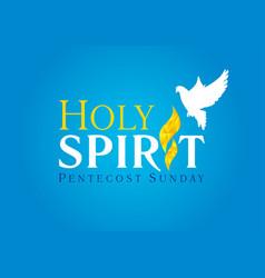 Holy spirit dove flame card blue vector