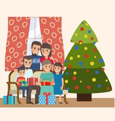 joyful family near new year tree merry vector image