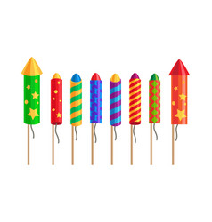 Kinds of fireworks pyrotechnic set rockets vector