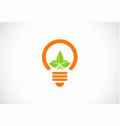 light bulb green leaf logo vector image