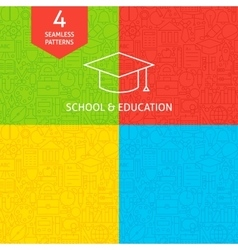 Line School and Education Tile Patterns vector image