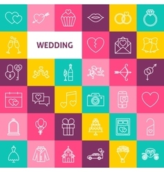 Line Wedding Icons vector
