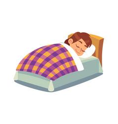 Little girl sleeping in bed happy child vector