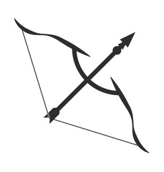 Long bow with arrow archery flat icon for apps vector