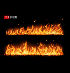 long burning fire tongues realistic flame vector image