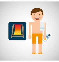 man beach chair shorts towel beach vacations vector image