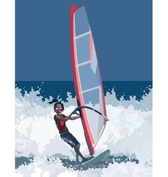 Man has windsurfing vector