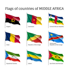 Middle africa silk flag set vector