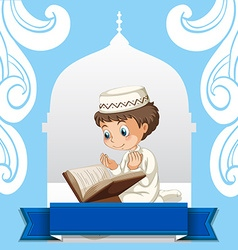 Muslim boy praying at the church vector