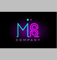 Neon lights alphabet ms m s letter logo icon vector