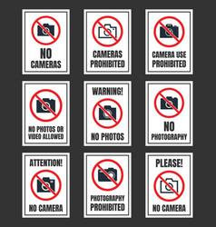 no photography sign camera prohibited symbol no vector image