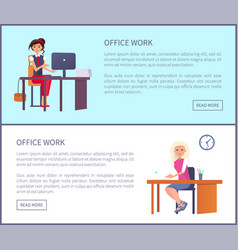 office work page pretty women workplace typing vector image