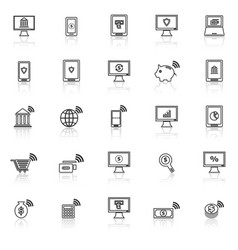 online banking line icons with reflect on white vector image vector image