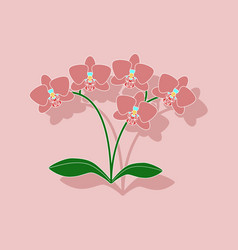 Paper sticker on background of flower orhidaceae vector