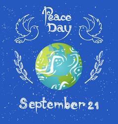 peace day september 21 planet with flying doves vector image
