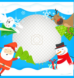 photoframe mockup with christmas characters vector image