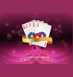 Poker casino gambling set with chips and royal flu vector