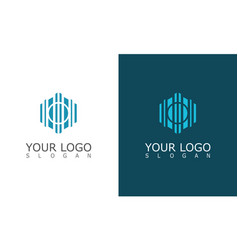 polygon building construction logo vector image