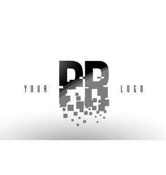 Pr p r pixel letter logo with digital shattered vector