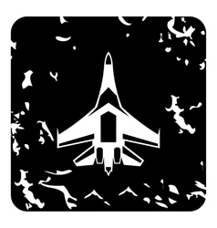 Quick military aircraft icon grunge style vector image