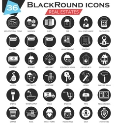 Real estates circle white black icon set vector