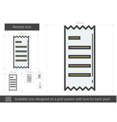Receipt line icon vector
