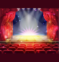 red curtain and empty theatrical scene vector image