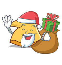 Santa with gift fortune cookie mascot cartoon vector