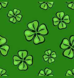 seamless pattern with falling green clover leafs vector image