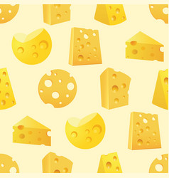 Seamless pattern with tasty slices of cheese vector
