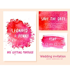 Set hand drawn watercolor wedding invitation vector