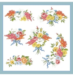 Set of Baroque Bouquet Wildflowers vector