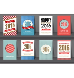 Set of Happy New Year brochures in vintage style vector image