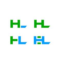 set of initial letter hl design logo vector image