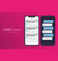 Set of mobile ui design concept trendy chat vector