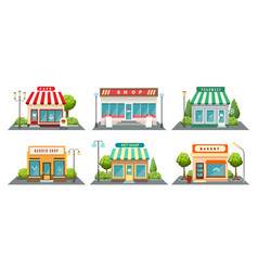 shops fronts on street vector image