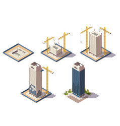 skyscrapers construction isometric composition vector image