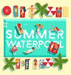 Summer holidays swimming pool flat poster vector