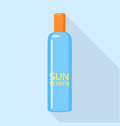 Sunscreen blue bottle icon flat style vector