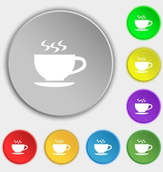 The tea and cup icon sign Symbol on eight flat vector
