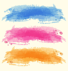 Three watercolor backgrounds on white paper vector