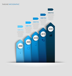 time line info graphic with design paper blue vector image