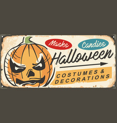 trade sign with halloween pumpkin head vector image