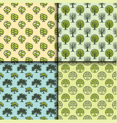 tree outdoor travel green seamless pattern forest vector image