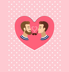 Valentine s greeting card gay homosexuals couple vector