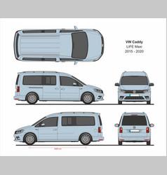 vw caddy life maxi passenger van 2015-present vector image