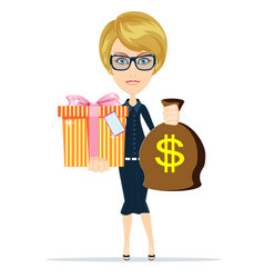 woman holding a money bag and gift box vector image