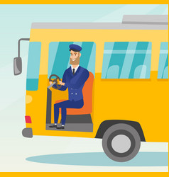 Caucasian bus driver sitting at steering wheel vector