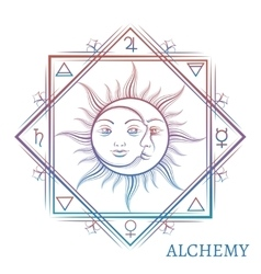 Hand drawn alchemy symbol vector image