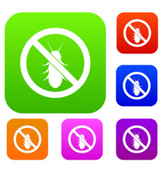 no termite sign set collection vector image